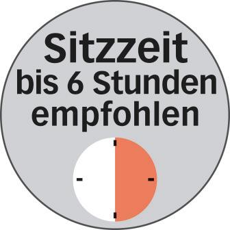 Empfohlene Bürostuhl Sitzzeit bis 6h Logo