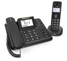 schnurgebundenes Telefon mit einem zusätzlichen Mobil