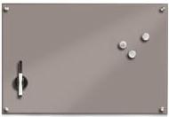 Glasmagnettafel rechteckig montiert mit Magneten und einem magnetischen Stiftehalter