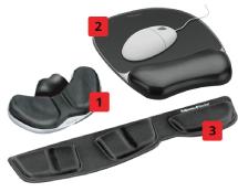 Unterschiedliche Handgelenkauflagen für Maus und Tastatur