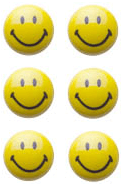 sechs Smiley-Magnete