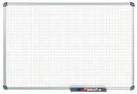 Whiteboard mit karierter Fläche und befestigter Stiftablage