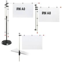 unterschiedlich aufgebauter Planhalter - mit Standfuss, an einer Kante und magnetisch