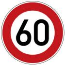 Verkehrszeichen Höchstgeschwindigkeit 60 km/h