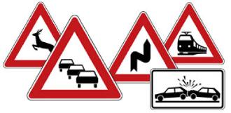 Warnzeichen für Motorradfahrer