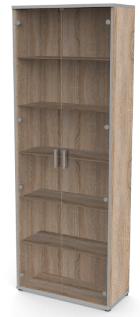 hohe Holzvitrinie mit 2 Glastüren